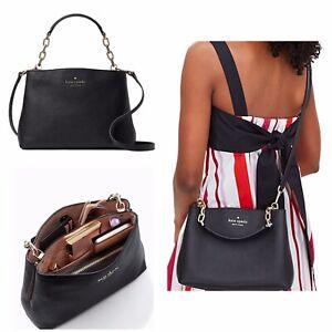 New Kate Spade Aubrey chain top handle satchel crossbody bag Black Pebbled Leath