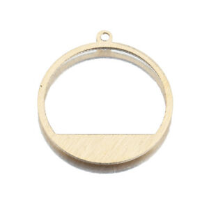 20X Brass Textured Hollow Round Pendant Hoop Earrings Charms For Jewelry Making