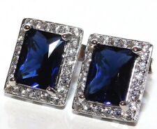 ART DECO STYLE STERLING SILVER BAGUETTE SAPPHIRE  CLUSTER STUD EARRINGS