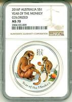 2016 $1 Australia Lunar Year Of The Monkey Colorized NGC MS70