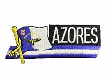 AZORES SIDEKICK WORD COUNTRY FLAG IRON-ON PATCH CREST BADGE 1.5 X 4.5 IN.