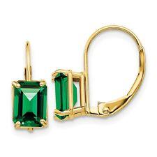 14k Yellow Gold 7x5mm Emerald Cut Mount St. Helens Earrings