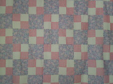 Unfinished Quilt Top- Lavender Blocks with Pink Gingham Four Patch,approx 71x90