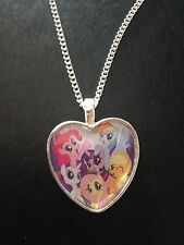 Silver Plated Heart Pendant Necklace My Little Pony Mlp Rainbow Dash Applejack