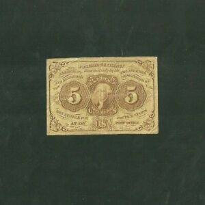 1862 Postage Currency FR #1230 Five Cent Fractional Currency Post Office