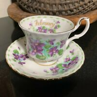 """Royal Albert February Flower of the Month Violets 3"""" Cup & Saucer England MINT"""
