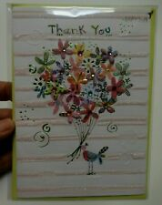 3 Papyrus Cards High Quality Bird with Flower Bouquet THANK YOU CARDS