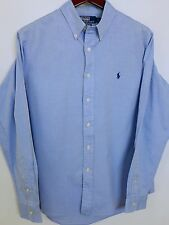 AA209 Men Polo By Ralph Lauren Blue Cotton Casual Shirt Size 42 16.5 XL