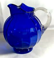 "Vintage Cobalt Blue Elegant Glass 8"" Ice Lipped Pitcher"