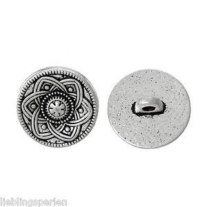 LP:30 Rund Knopf Knöpfe Buttons 1 Löcher Antik Silber 15mm