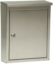 Wall Mount Locking Mailbox Stainless Steel Gauge Corrosion Resistant Silver New