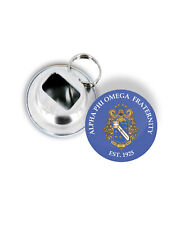 """Alpha Phi Omega 2.25"""" Round Bottle Opener Keychain with Crest & Founding Year"""
