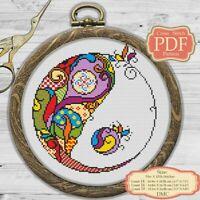 Yin-Yang - Mandala - Modern Embroidery Cross stitch PDF Pattern - 078