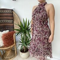 Zara 90's Y2K Style Halter Neck Burgundy Floral Floaty Dress Romantic Sz M 10 12
