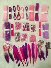 Scrapbooking~Embellishment~Lot~Pink~Purple~Girl~Rhinestone~Lace~Ribbon~Feather++