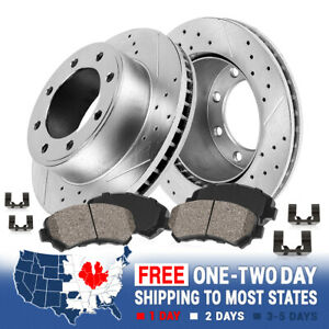 Front Drill Slot Brake Rotors and Ceramic Pads For Ford F53 F59 Super Duty
