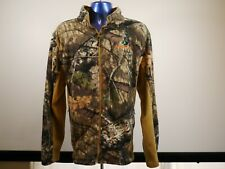 Mossy Oak Mens Jacket XL Fleece Camo Woodland Zip Pockets Hunt