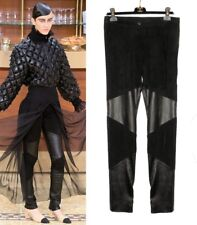 CHANEL 15A Black Suede Leather Pant F38 40 NWT