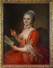 Large 18th Century French Old Master Portrait Lady Music Antique Oil Painting