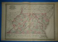 Vintage 1873 VIRGINIA WEST VIRGINIA MAP Old Antique Original Johnsons Atlas Map
