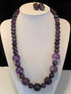 NEW Jay King Mine Finds DTR Sterling Silver Amethyst Bead Necklace Earrings Set