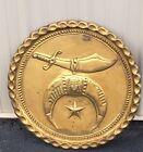 """VTG HANDMADE 21"""" PERSIAN HEAVY Brass SHRINER MASONIC Tray Platter Wall Plate"""