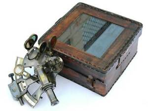 "Brass w/ Leather Case Nautical Maritime RARE Sextant 4"" Antiqued Finish Decor"