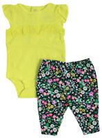 Carter/'s Baby Girl Just One You 2 Pack Pants~Solid Pink /& Yellow with White Dots