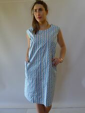Vintage retro 60s 14 16 L unused cotton shift dress NOS as new blue floral