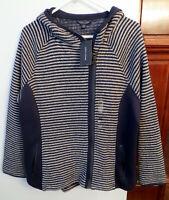 Tommy Hilfiger Navy /White Hooded Sweater Jacket, Sz XXL Asymetrical Zip NWT $89
