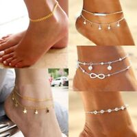 Ankle Bracelet Women Anklet Adjustable Chain Foot Beach Jewelry Gold Silver Hot
