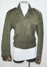 VTG Haeren Green Leopard Accent Military Mod Waist Short Ike Wool Jacket M/L