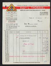 """DEOLS CHATEAUROUX (36) PRESURE de LAITERIE """"L. THORAVAL"""" 1954 illustré FROMAGERE"""
