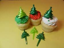 12 Green Christmas Tree Holiday Picks Cupcake Toppers  Cake Pop Decorations