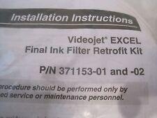 NEW VIDEOJET EXCEL FINAL INK FILTER RETROFIT KIT 371153-01 AND 371153-02