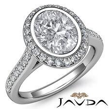 Halo Oval Diamond Pre-Set Delicate Engagement Ring GIA H VS2 Platinum 950 1.8 ct