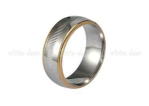 8 mm Men's Women's Silver Stainless Steel Carve Gold Trim Band Ring Comfort Fit
