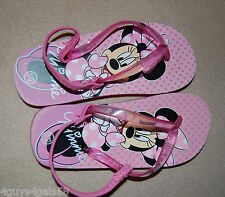 Toddler Girls Flip Flops Ankle Strap Minnie Mouse Pink Polka Dot L 11-12 *