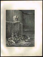 1860s BIG Original Antique Hell Male Nude Men Dore Christian Art Engraving Print