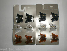 Black Clear Brown Butterflies Butterfly Hair Claw Styling Clips Lot of 18 New