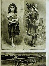 Fresh Air Fund CHILDREN BENEFITING Tenement Life in NYC 1886 Antique Art Matted