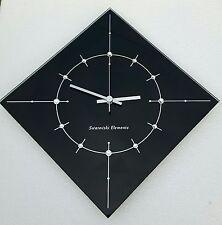 Original Swarovski Elements Kristalle Glas Funk Wanduhr schwarz silber Damenuhr