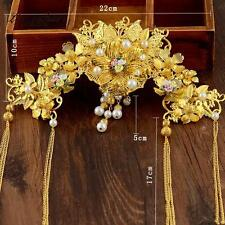 Handmade Tassel Bridal Crown Bridal Hair Accessories Gold Chinese Style Jewelry