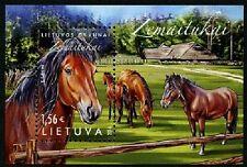 chevaux souvenir FEUILLE MNH 2016 LITUANIE lietovos gyvunai : zemaitukai