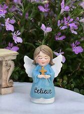 Miniature FAIRY GARDEN Terrarium Figurine ~ Mini Blue BELIEVE Angel with Cross