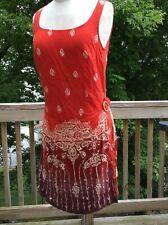 WOMEN'S ORANGE PRINT ISLAND WRAPPER DRESS RAYON SIZE 9/10