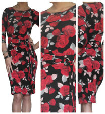 Ladies Bodycon Dress Long Sleeve Stretch Mini Red Rose Size 8 10 12 14 16 18 20