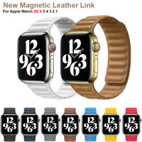 New Leather Link Magnetic Loop Strap for Apple Watch Series 6 5 4 No Buckle Band