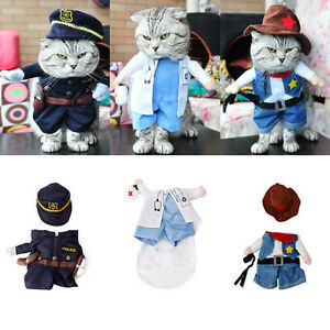 Funny Pet Dog Cat Costume Clothes Dress Apparel Doctor Policeman Cowboy New