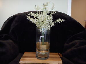 HEARTH & AND HAND WITH MAGNOLIA GLASS FLOWER VASE WITH COPPER METAL BAND NEW